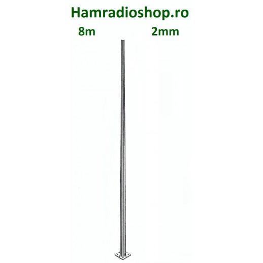Stâlp, 8m, Aluminiu, Pătrat, 2mm