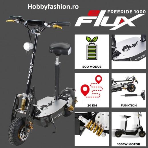 Scuter, eFlux, Freeride, 1000 W, 48 V, cu Far led, Scaun, Galben