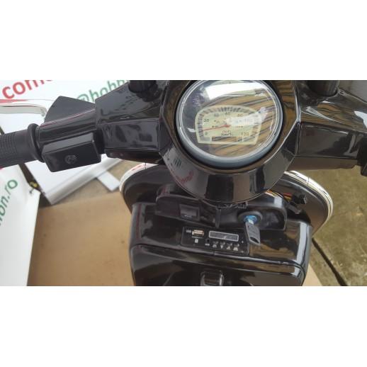 Motoretă, Pentru Copii, Vespa, PX150, 12 V 7 ap, 1 Loc, Negru